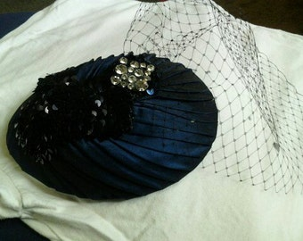 Navy Blue Sequined Teardrop fascinator,navy birdcage veiling,Navy Silk Bridal headpiece with Russian Bird cage veil, Something Blue HBJ125