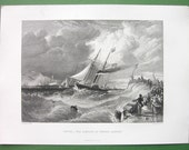 ENGLAND Steamboat of Prince Albert Saxe Coburg & Gotha Landing at Dover - 1850s SUPERB Antique Print
