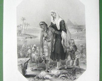 EGYPT Girls Women Flee Rising Waters of Nile River Pyramids - SUPERB Victorian Vintage Antique Print