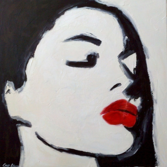 30x30 Abstract Painting Of Red Lips