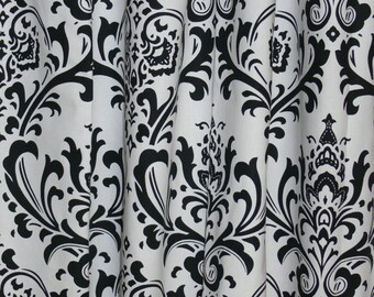 "CUSTOM CURTAINS - A pair of Custom Drapes Traditions Black and White 24"" wide X up to 96"" Long"