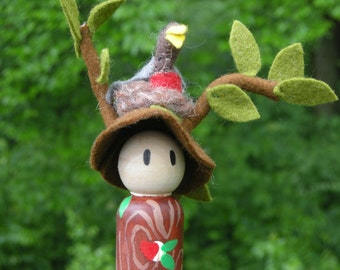 Wood peg Tree Spirit with Bird in Nest