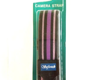 NOS Softouch Camera Strap Striped Pattern Vintage New Old Stock Purple Gray Black