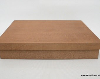 Wooden Box Light Brown / A4 size Box / Put on Lid Box / 12 x 8.65 x 1.95 inch
