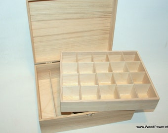 wooden box with compartments