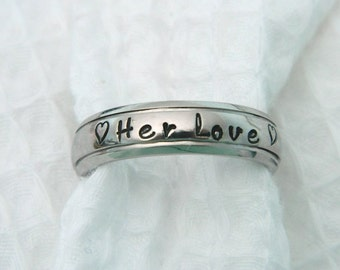 Personalized Ring, Name Ring, Hand Stamped Silver 6 mm Step Edge Silver Ring, Promise Ring, Stainless Steel Ring