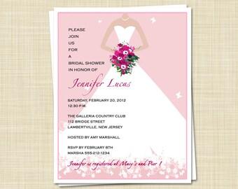 20 Bridal Shower Invitations - Elegant Bride - Spring Summer - color choices / PRINTED