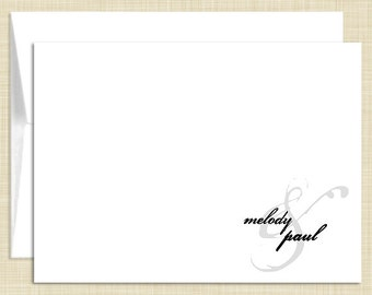 Personalized Note Cards Stationery Set - Romantic Couple - set of 10 - personalized stationary folded cards - choose color
