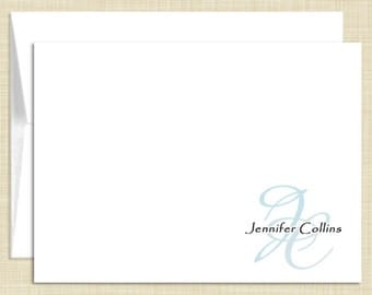 Monogram Stationery - set of 10 - folded note cards - STYLISH MONOGRAM