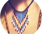 Native Fringe Beaded Necklace - Handmade To Your Specifications - Southwestern boho