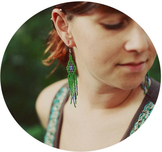 Iris Fringe Beadwork Earrings - Long - Handmade