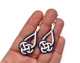 Nautical Earrings, Knot Earrings, White Navy Blue, Cord Rope Earrings, Dangle Earrings, Gift for her, Knotted Earrings