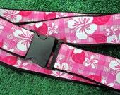 LUGGAGE STRAP, Hawaiian Polaka Hibiscus, Pink: Adjustable, Free Shipping