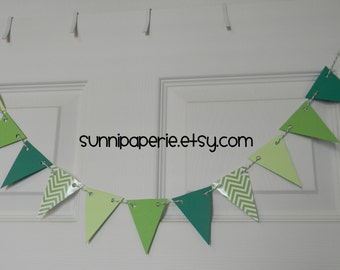 Small Green Chevron Paper Pennant Banner for St. Patrick's Day