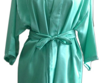 Sale Green Turquoise Satin For Bride Kimono robe bridesmaids robes maid of honor spa robe beach getting ready robe wedding photography