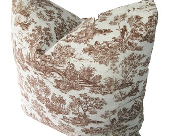 Decorative Designer Chinoiserie Toile, Aqua Blue and Brown, 18x18, 20x20, 22x22, Throw Pillow