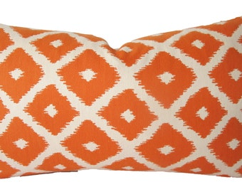 Decorative Designer Reversible Diamond Ikat Pillow Cover, Lumbar, Pumpkin Orange  Throw Pillow