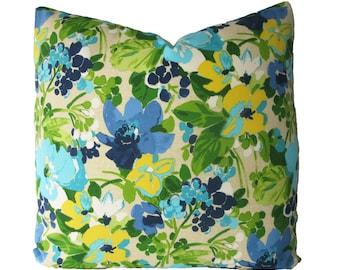 Decorative Designer Floral Outdoor Pillow Cover, Aqua, Turquoise, Blue, Green,  Throw Pillow