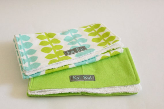Green and Blue Leaves -- Gift Set of 2 Burp Cloths