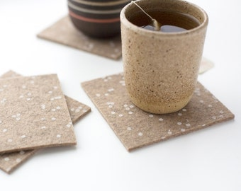 Confetti Patterned Coasters - Set of four - White Confetti Pattern on Latte Wool Felt
