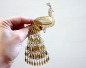 Vintage Articulated PEACOCK BROOCH - Large Brass Filigree Moving Pin - Put A Bird On It