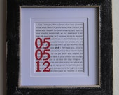 1st Anniversary Gift Wedding Vows or Custom Text