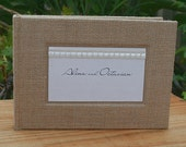 Bespoke wedding or engagement guestbook gift - Hessian/Burlap and lace