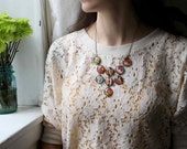Large Bib Necklace made with Vintage Wallpaper - Red Paisley - 20mm