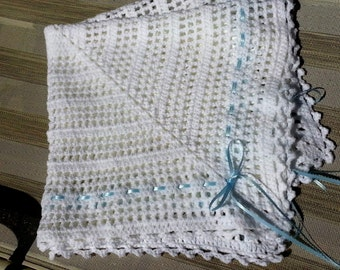 White crochet christening baptism baby boy blanket with ribbon