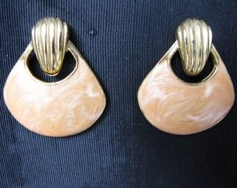 Enamel Earrings Pierced Earring Peach 80s Jewelry