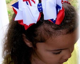 Patriotic Hair Bow....American Hair Bow....Memorial Day Hair Bow...4th of July Hair Bow....Memorial Day Bow.