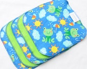 "15% Off Clearance Cloth Wipes - Cotton Velour and flannel - Set of 5 8"" - Baby Washcloths - Reusable - Sale - Discount - Froggy Weather"