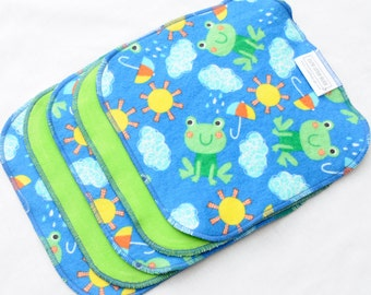 """10% Off Clearance Cloth Wipes - Cotton Velour and flannel - Set of 5 8"""" - Baby Washcloths - Reusable - Sale - Discount - Froggy Weather"""