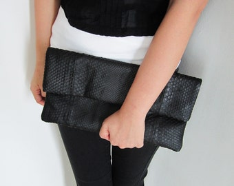 OVERSIZE - Jet Black Fold Over Python Snakeskin Leather Clutch Bag