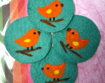 Gift Idea: A Set of 4 Needle Felted Coasters (Songbird)
