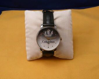 "USSR  ""COLUMBUS"" wrist watch 1960-70 white unusual dial interesting Big case  Ultra Ultra Rare"