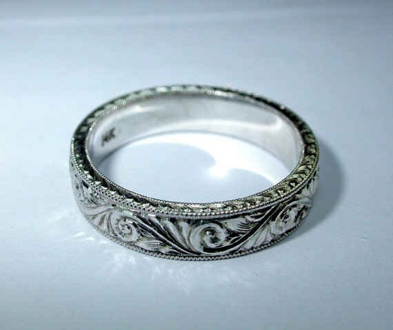 engraved 14k white gold ring band 5mm by