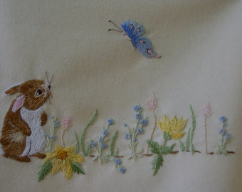 Hand Embroidery pattern. Baby blanket design. BUNNY & BUTTERFLY baby blanket. PDF Instructions and Needlework Pattern.