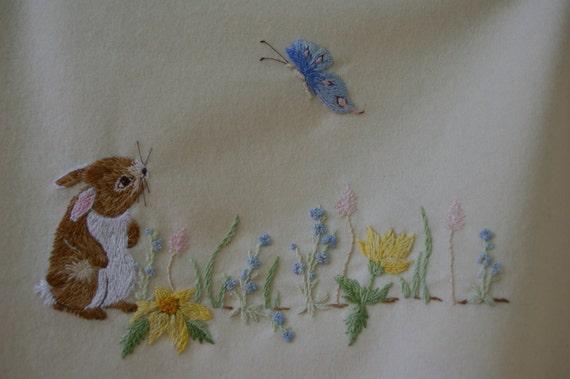 Hand embroidery pattern baby blanket design bunny