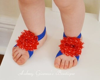 Patriotic 4th of July Barefoot Sandals Pair....Newborn Barefoot Sandals..Newborn Baby Photo Prop