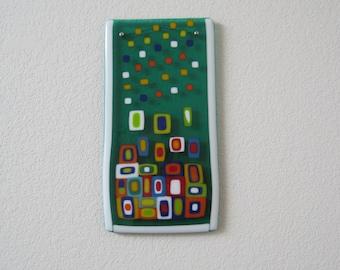 "Galaxy Formation - Fused Glass Wall Art - 6"" x 12"""