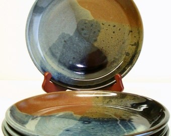 8 piece Red,Blue and Black plate setting