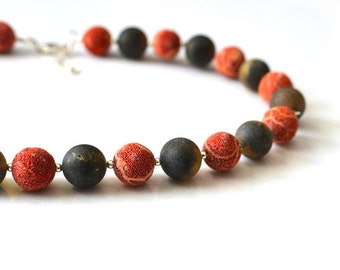 Coral and Amber Natural Geometric Necklace / Gemstone Necklace Nature Inspired/ Summer Fashion Red and Black / Amber and Coral