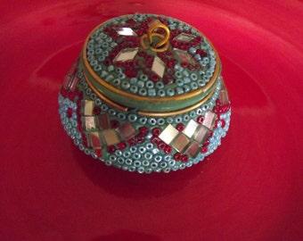 Precious Dainty Hand Designed Beaded Trinket Box