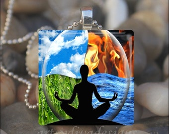 INNER PEACE Yoga Chakras Harmony Fire Water Glass Tile Pendant Necklace Keyring