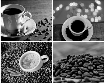 Coffee Photography  Set of 4 photos Digital Download Coffee wall art black and white kitchen decor