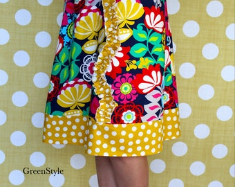 Floral and Mustard Yellow Polka Dot  A line Skirt for Women from GreenStyle