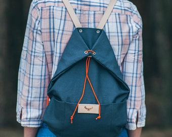 Gray, cotton backpack KOALA / natural leather handles / perfect for picnic, walking and bicycle trips