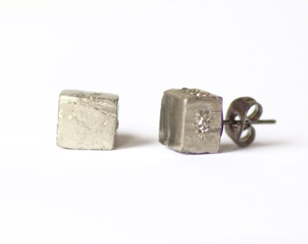 Pyrite stone stud earrings. Simple earrings