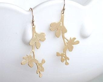 Modern Gold Twig Earrings - Blossom Branch Gold Filled Earwires - Modern Branch Earrings - Modern Gold Earrings Gift